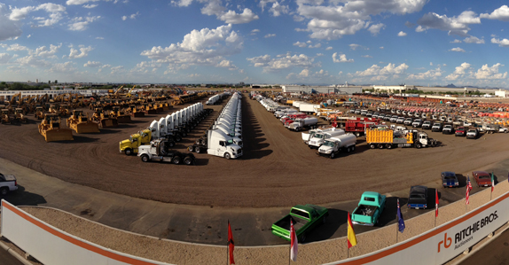 Trucks and heavy equipment waiting for auction day