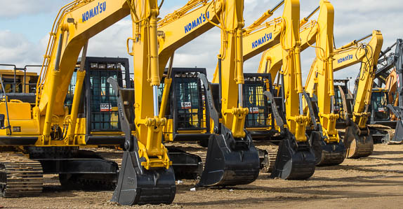 Komatsu equipment on Ritchie Bros. auction ramp