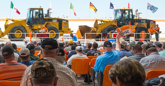 Caterpillar wheel loaders selling at a Ritchie Bros. auction