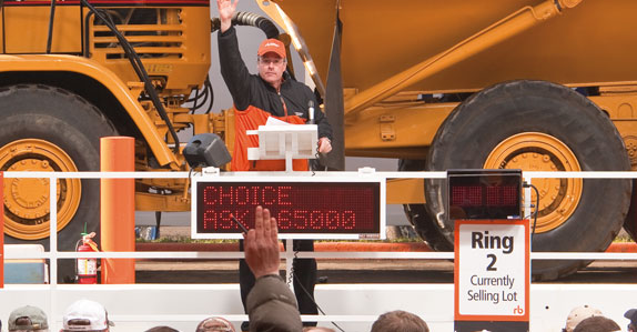 People bidding on and buying heavy equipment at a Ritchie Bros. auction