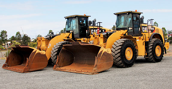 Two Caterpillar 980K wheel loaders to be sold in Brisbane, Australia.