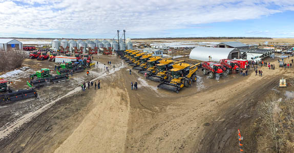 Ritchie Bros. set up and ready for the Bonanza, AB on-the-farm auction