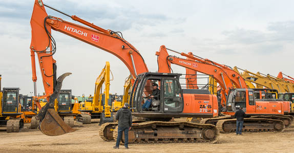 Hitachi excavators ready to sell at Ritchie Bros. April 2014 auction in Edmonton