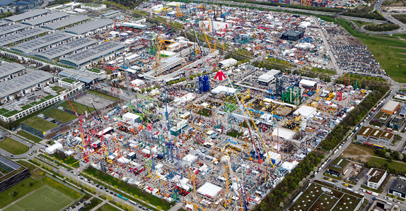 Aerial view of bauma 2016 trade show in Munich