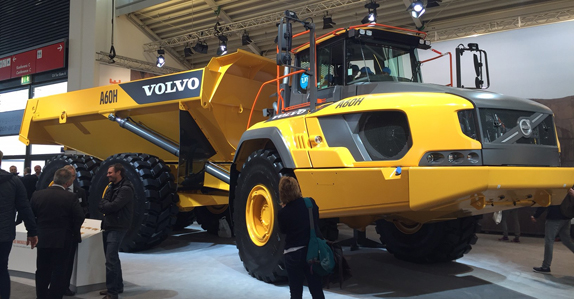 A Volvo A60H articulated dumper at bauma 2016