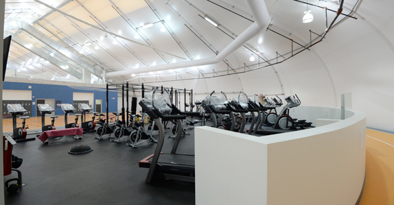 The gym complex with 200M indoor running track, squash courts and more
