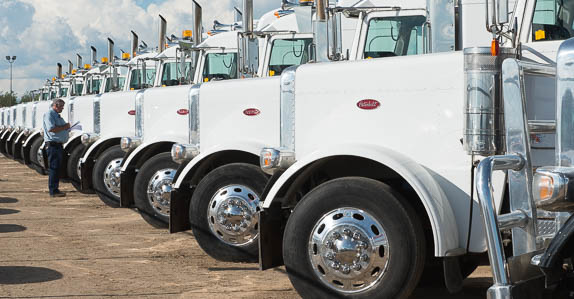 Peterbilt trucks lined up in the Ritchie Bros. auction yard.