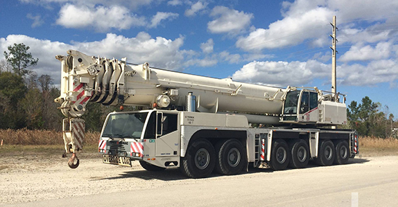 this 2005 Terex Demag AC350 400-ton 12x8x10 all-terrain is selling in Orlando on Feb. 22