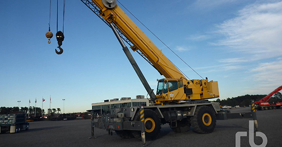 this 2009 Grove RT9130E 130-ton 4x4x4 rough terrain crane is selling in Houston (Feb. 15-16)