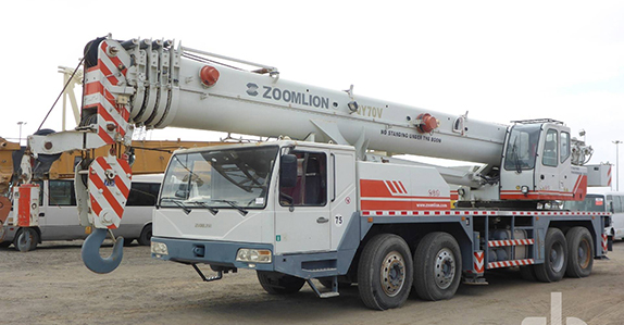 this 2011 Zoomlion QY70V 70-ton 8x4x4 hydraulic truck crane (1 of 2) will be sold in Dubai (Feb. 27-28)