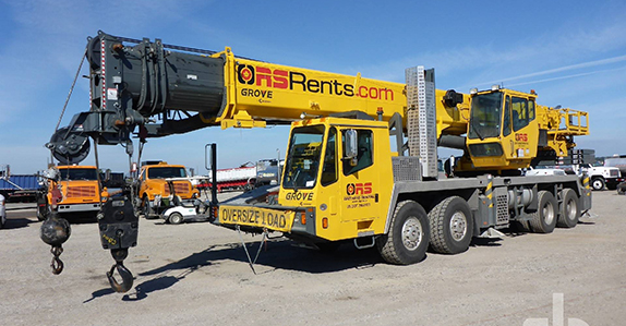 this 2013 Grove TMS745E 60-ton 8x4x4 hydraulic truck crane is selling in Orlando on Feb. 22