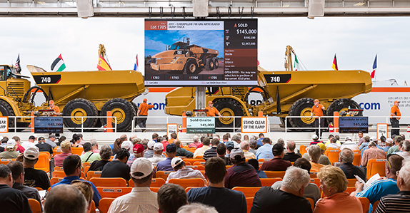 Rtichie Bros. selling heavy equipment at auction.
