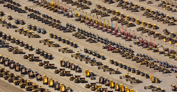 Aerial view of equipment at Ritchie Bros.' Edmonton auction site