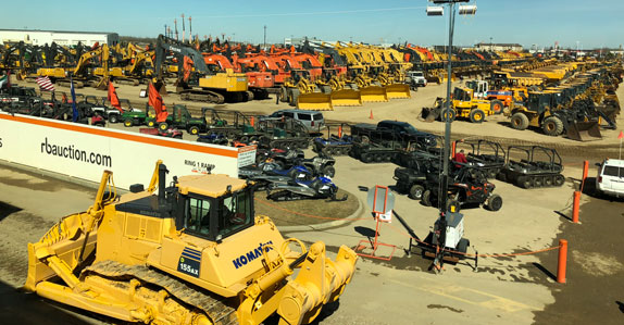 Overhead view of equipment at Ritchie Bros. auction yard