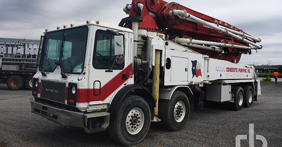 2006 Mack MR688S concrete pump truck sold at Ritchie Bros. auction