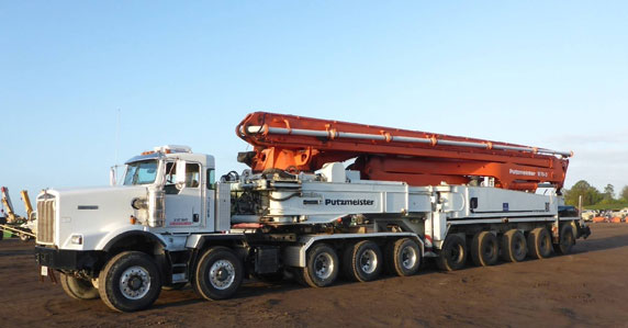 2011 Putzmeister BSS70-516 concrete pump truck sold at a Ritchie Bros. auction