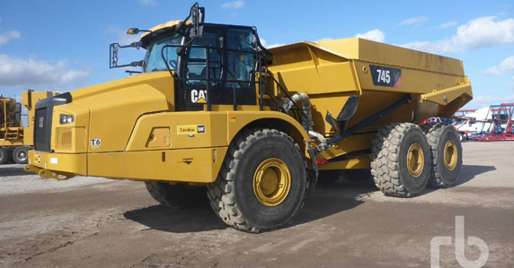 2018 Caterpillar 745 Articulated Dump Truck sold at Ritchie Bros. auction