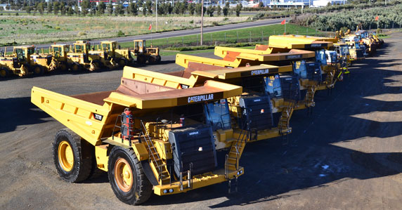 Equipment lined up in Ritchie Bros. Geelong auction yard.