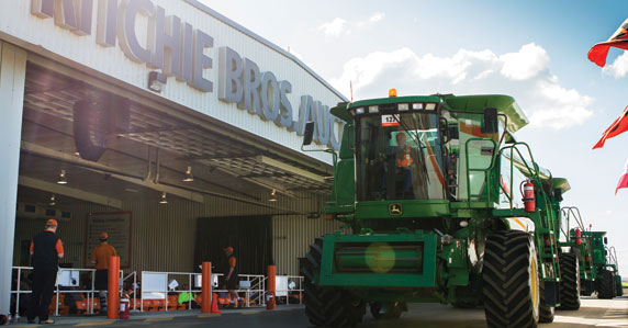 Equipment on the ramp at Ritchie Bros. Geelong auction yard
