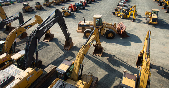 Large selection of mining equipment in Raleigh Durham, NC auction yard
