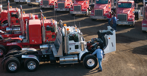 Truck tractors waiting to be sold at our equipment and truck auction