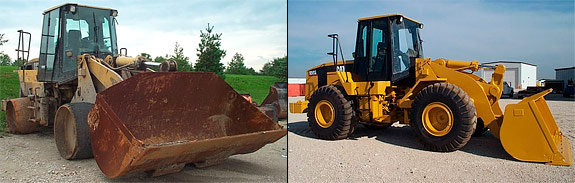 Before and after of a Wheel Loader