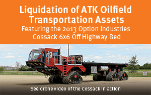Liquidation of ATK Oilfield Transportation Assets - Featuring the 2013 Option Industries Cossack 6x6 Off Highway Bed