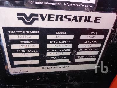 Detail photo of 2017 VERSATILE 450 from Construction Equipment Guide