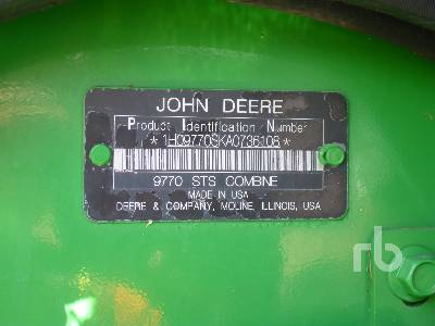 Detail photo of 2010 John Deere 9770STS from Construction Equipment Guide