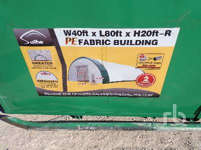 Unused SUIHE S408020R 40 Ft x 80 Ft x 20 Ft Storage Building